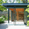garden pavillion with sliding doors fully open